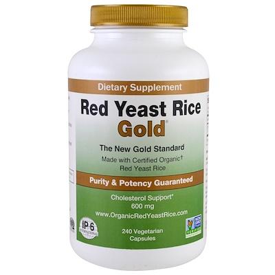 Купить Красный дрожжевой рис, золотой, 600 мг, 240 вегетарианских капсул