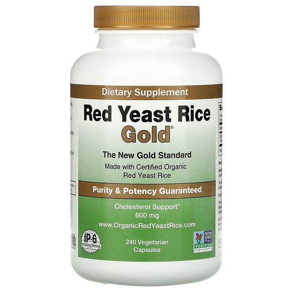 Red Yeast Rice Gold, Cholesterol Support, 600 mg, 240 Vegetarian Capsules