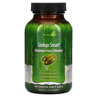 Irwin Naturals, Ginkgo Smart، لأقصى قدرة على التركيز والذاكرة، 60 كبسولة هلامية سائلة