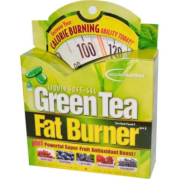 appliednutrition, 緑茶ファットバーナー、即効性液体ソフトジェル30粒