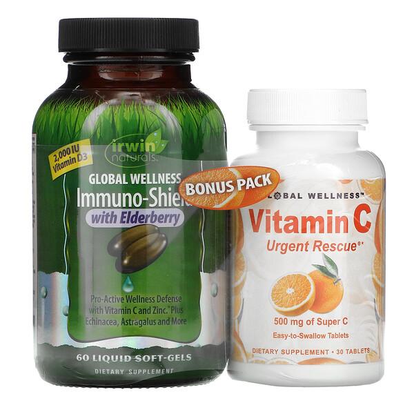 含接骨木果的 Immuno-Shield,60 粒液體軟凝膠 + 維生素 C,500 毫克,30 粒膠囊