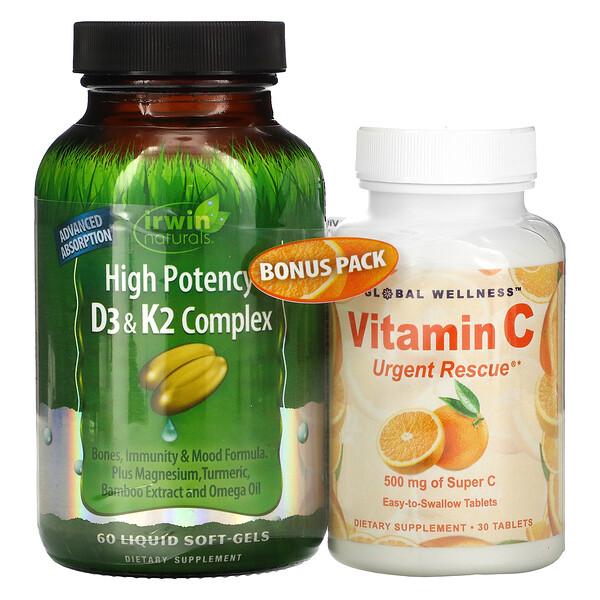 High Potency D3 & K2 Complex, 60 Liquid Soft-Gels + Vitamin C, 500 mg, 30 Capsules