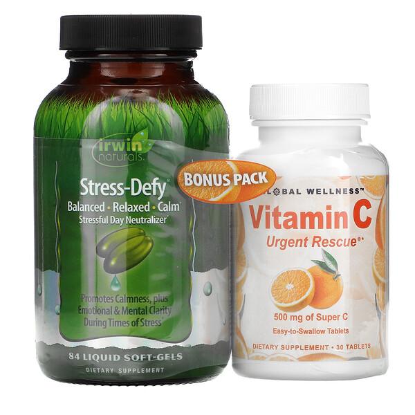 Stress-Defy, 84 Liquid Soft-Gels + Vitamin C, 500 mg, 30 Tablets
