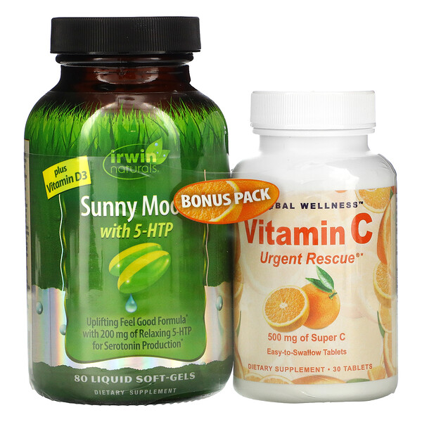 Sunny Mood with 5-HTP, Plus Vitamin D3, 80 Liquid Soft-Gels + Vitamin C, 500 mg, 30 Capsules