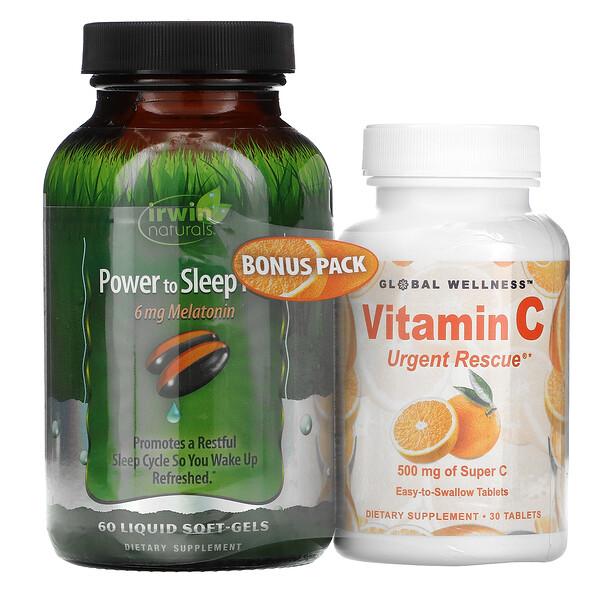 Power to Sleep PM , 60 Liquid Soft-Gels + Vitamin C, 500 mg, 30 Capsules