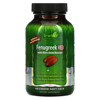 Irwin Naturals, Fenugreek RED With Nitric Oxide Booster, 60 Liquid Softgels