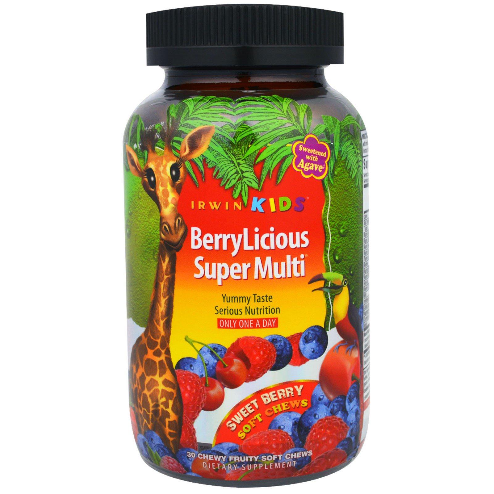 Irwin Naturals, BerryLicious Super Multi, сладкие ягоды, 30 мягких жевательных конфет