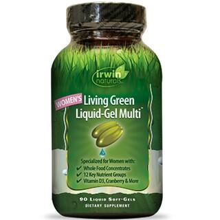 Irwin Naturals, 女性用リビンググリーン 液体ジェル マルチ、 90 液体ソフトジェル