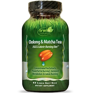 Irwin Naturals, Oolong & Matcha Tea, EGCG Calorie-Burning Diet, 63 Liquid Soft-Gels
