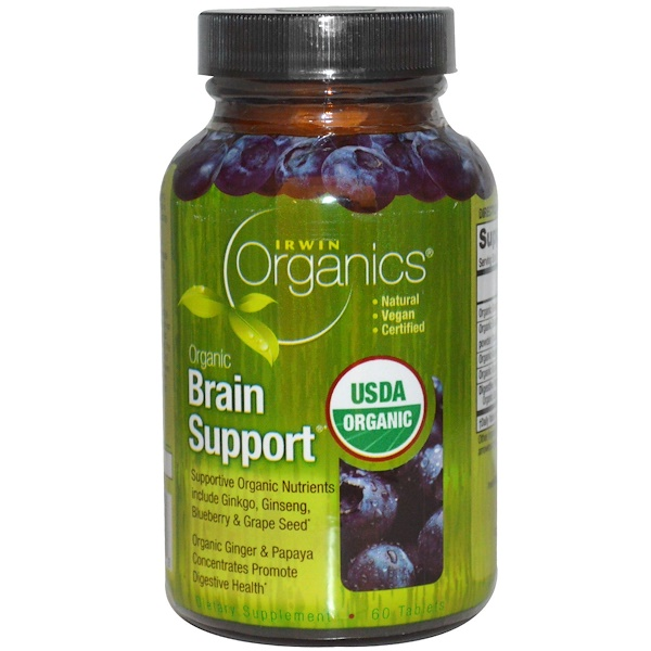 Irwin Naturals, Organics, Brain Support, 60 Tablets (Discontinued Item)