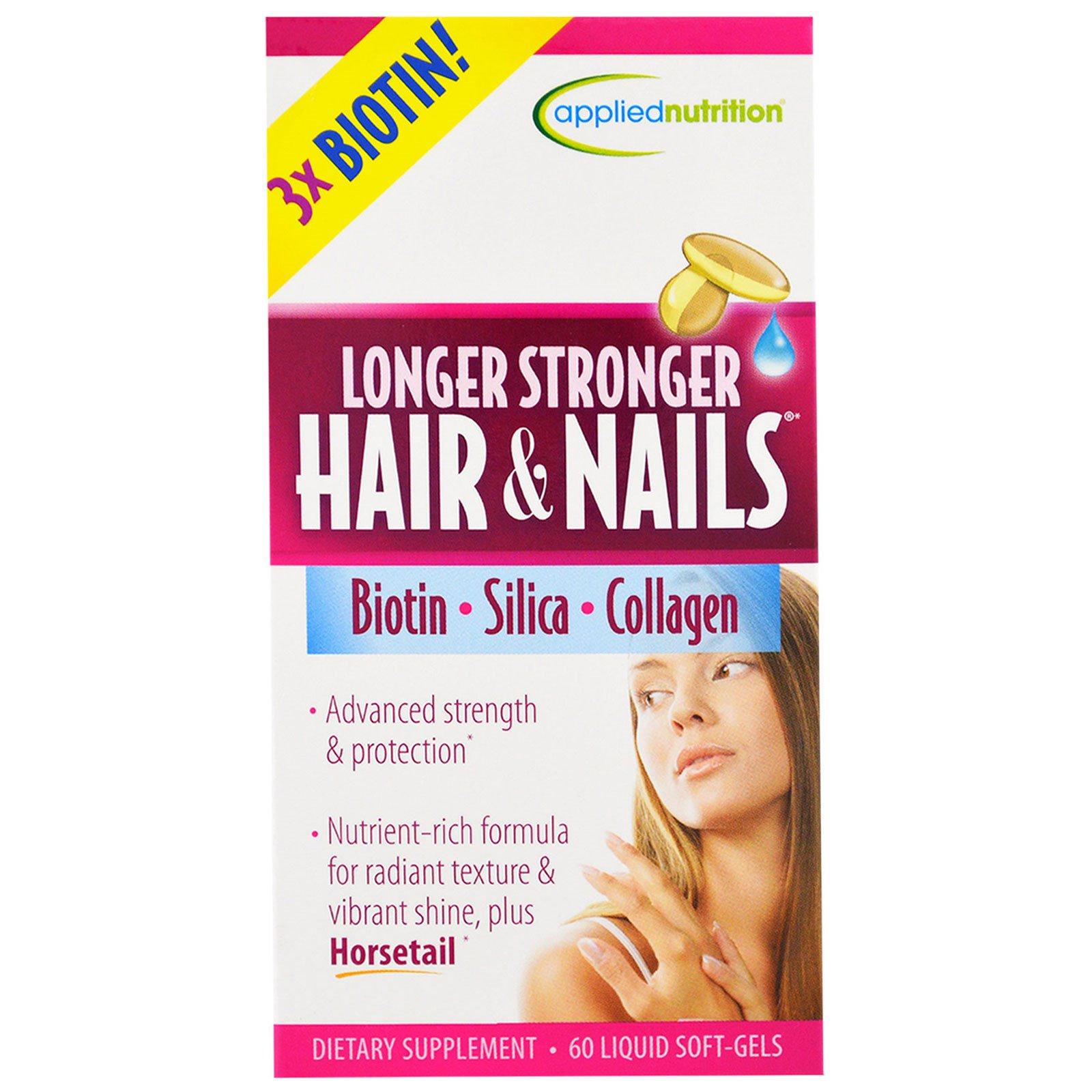 Appliednutrition Longer Stronger Hair Nails 60 Liquid