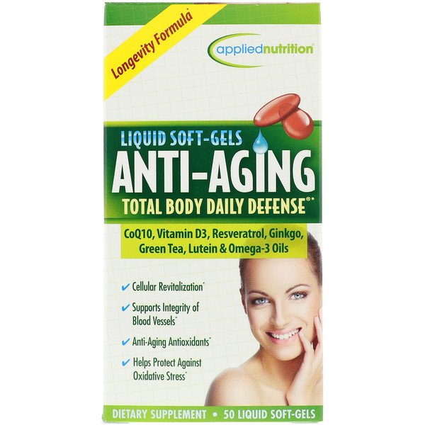 appliednutrition, Anti Aging Total Body Daily Defense, 50 Liquid Soft-Gels