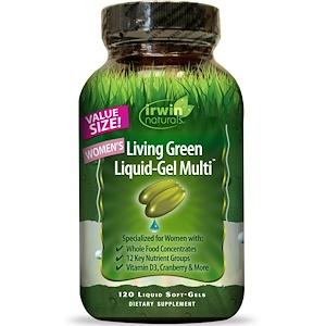 Irwin Naturals, Жидкие зеленые овощи и фрукты для женщин, 120 жидких гелевых капсул