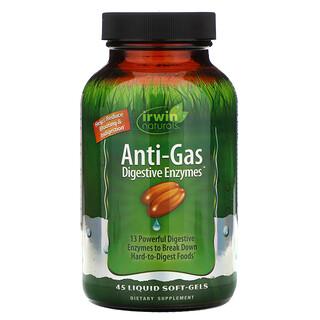 Irwin Naturals, 안티 가스 소화 효소, 45 액상 소프트젤