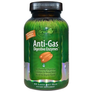 Irwin Naturals, Anti-Gas Digestive Enzymes, 45 Liquid Soft-Gels