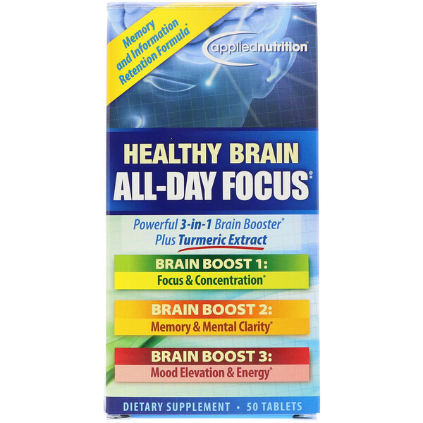 appliednutrition, Healthy Brain All-Day Focus, 50 Tablets