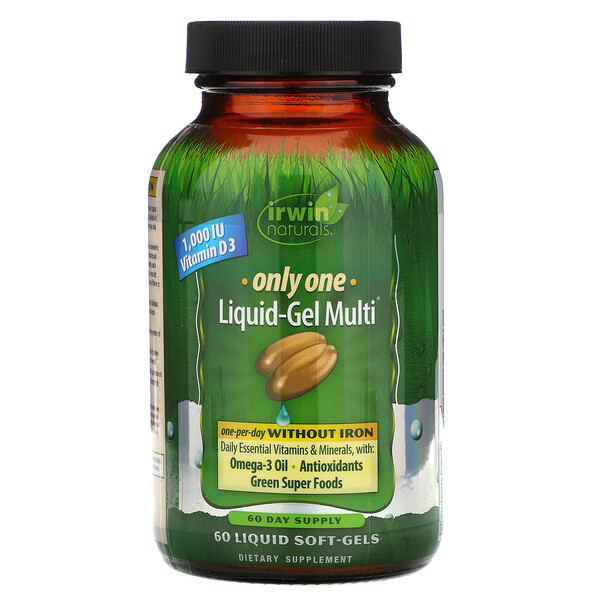Irwin Naturals, Only One, Liquid-Gel Multi, Without Iron, 60 Liquid Soft-Gels (Discontinued Item)
