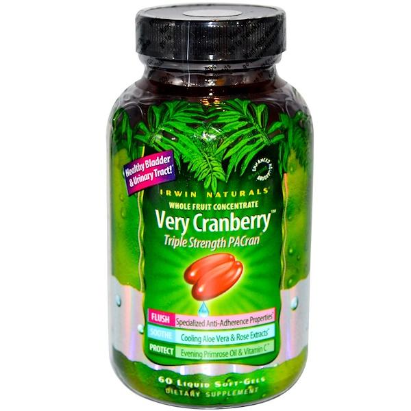 Irwin Naturals, Very Cranberry, Triple Strength PACran, 60 Liquid Soft-Gels (Discontinued Item)
