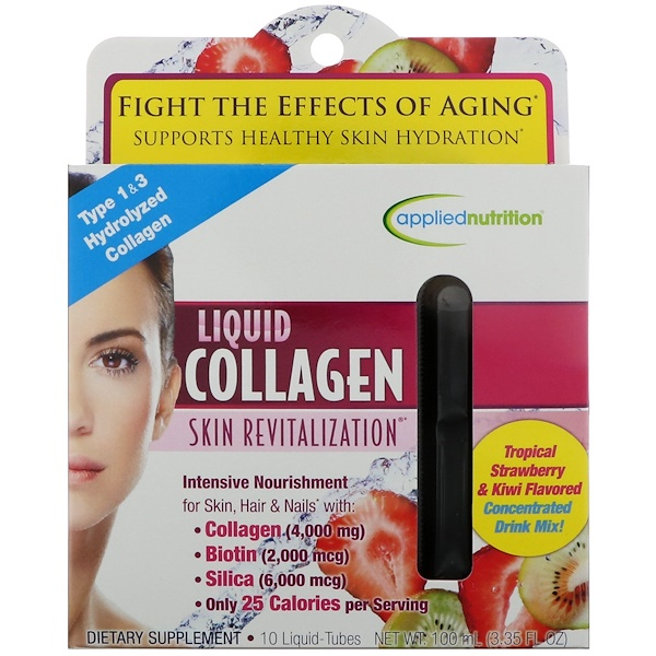 Irwin Naturals, Liquid Collagen, Skin Revitalization, Tropical Strawberry & Kiwi Flavored, 10 Liquid-Tubes, 10 ml Each