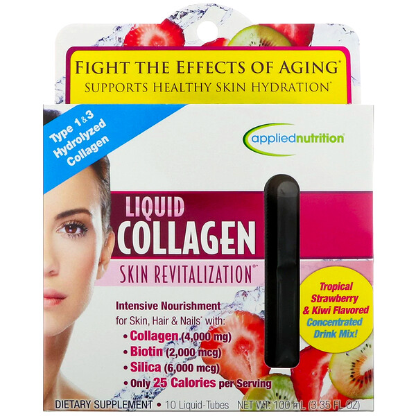 Liquid Collagen, Skin Revitalization, Tropical Strawberry & Kiwi Flavored, 10 Liquid-Tubes, 10 ml Each