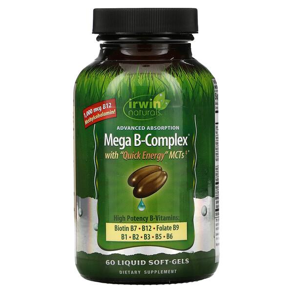 Mega B Complex with Quick Energy MCT's, 60 Liquid Soft-Gels
