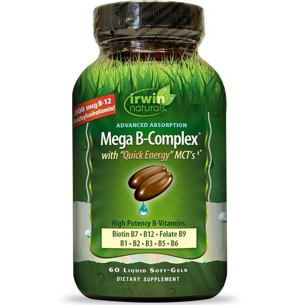 Irwin Naturals, Mega B Complex, with Quick Energy MCT's, 60 Liquid Soft-Gels