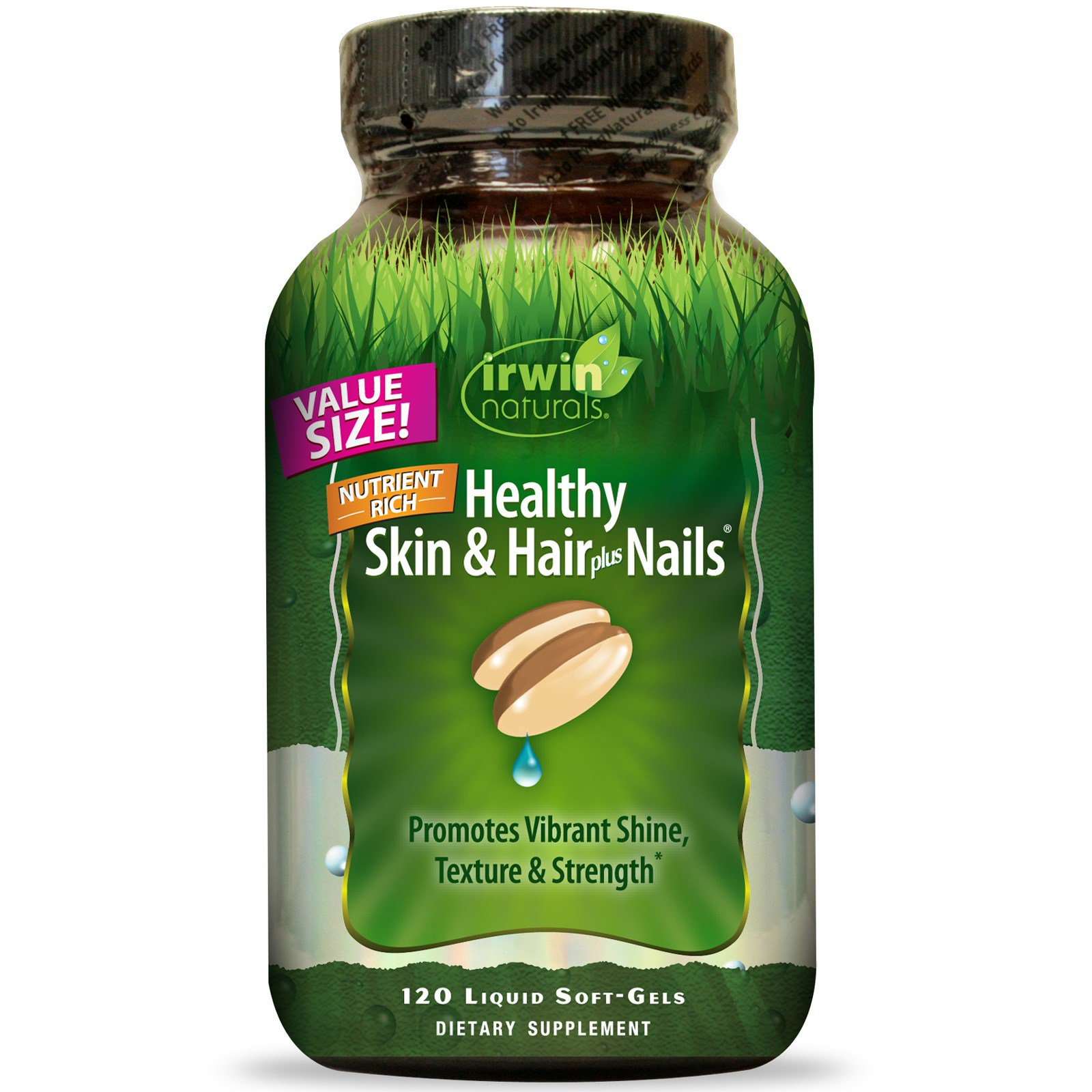 Irwin Naturals, Здоровая кожа и волосы плюс ногти, 120 жидких гелевых капсул