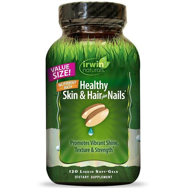 Irwin Naturals, Healthy Skin & Hair Plus Nails、液体ソフトジェル 120錠