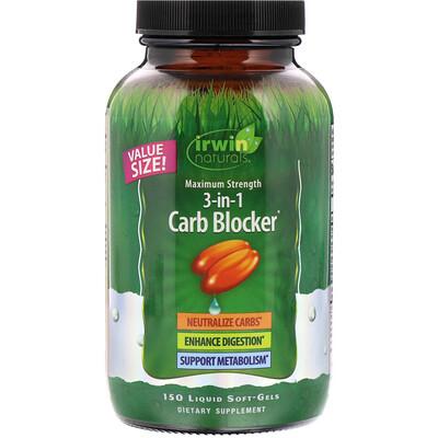 3-in-1 Carb Blocker, блокатор углеводов 3-в-1, максимальный эффект, 150желатиновых капсул