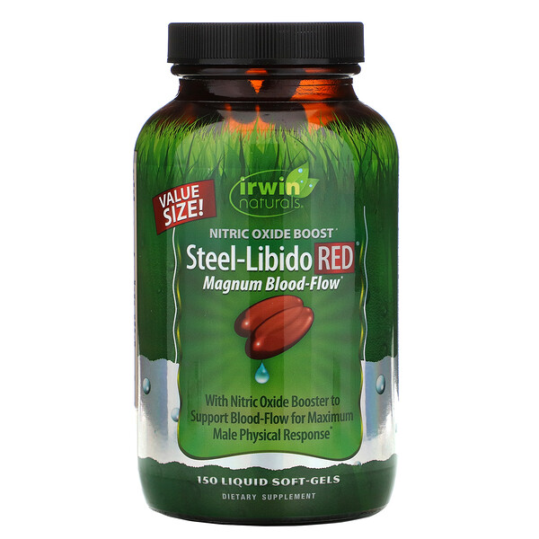 Steel-Libido Red, Magnum Blood-Flow, 150 Liquid Soft-Gels
