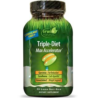 Irwin Naturals, Triple-Diet, Max Accelerator, 72 Liquid Soft-Gels