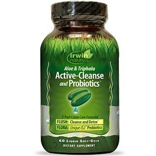 Irwin Naturals, Aloe & Triphala Active-Cleanse and Probiotics, 60 Liquid Soft-Gels