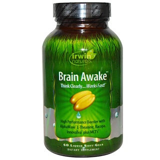 Irwin Naturals, Brain Awake, 60 Liquid Soft-Gels