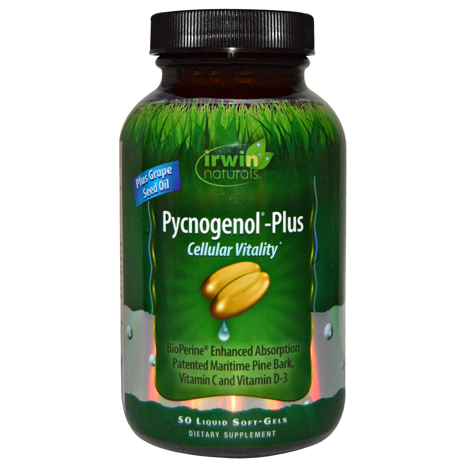 Irwin Naturals, Pycnogenol-Plus Cellular Vitality, 50 Liquid Soft-Gels