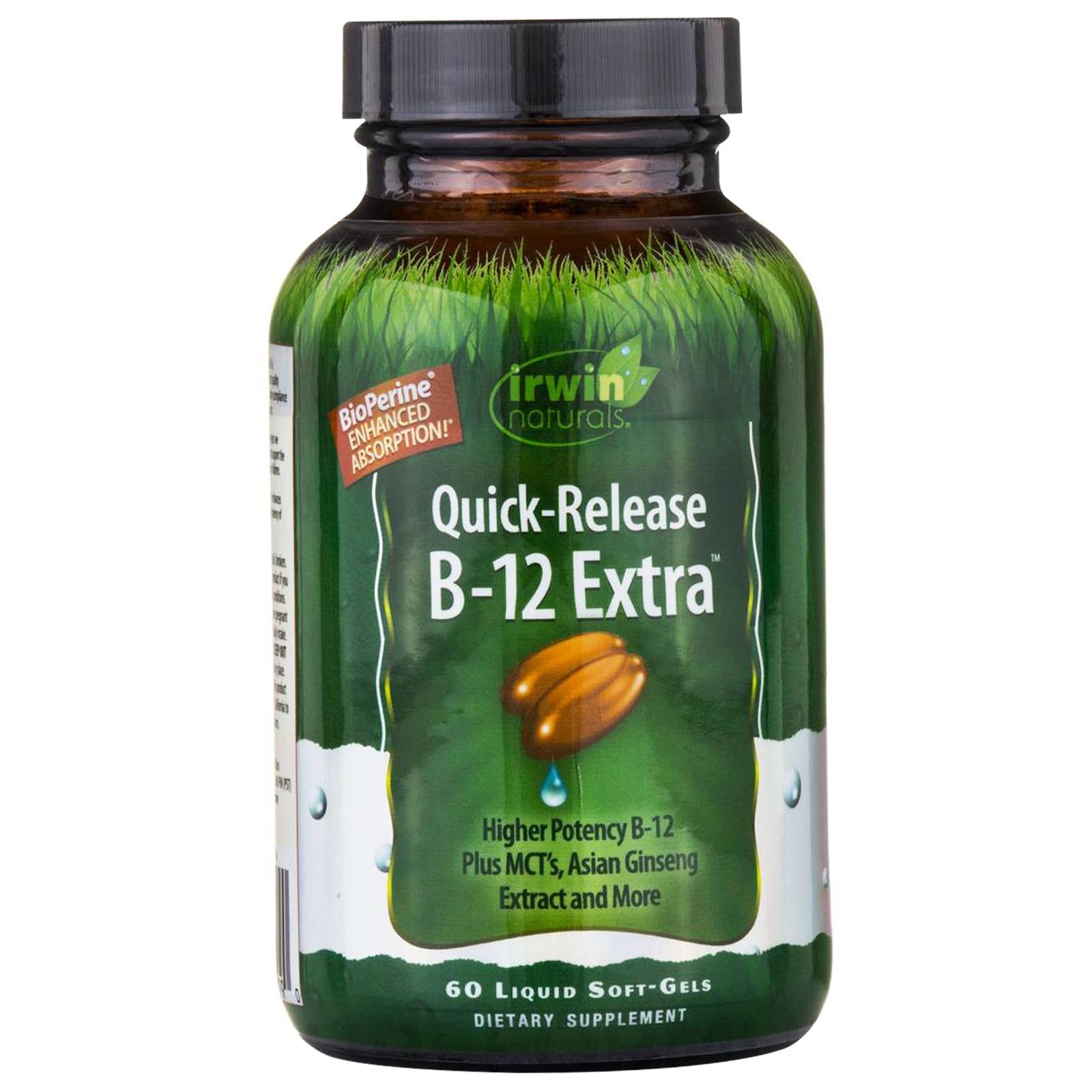 """Irwin Naturals, """"B-12 экстра"""", быстродействующий витамин B12, 60 мягких желатиновых капсул с жидкостью"""