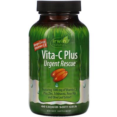 Купить Irwin Naturals Скорая помощь Вита-C плюс, пищевая добавка с 1000 мг витамина C, 60 мягких желатиновых капсул с жидкостью