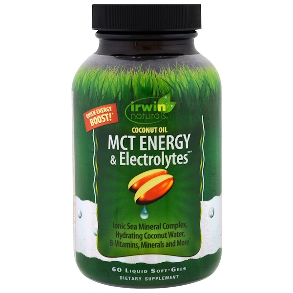 Irwin Naturals, Coconut Oil, MCT Energy & Electrolytes , 60 Liquid Soft-Gels (Discontinued Item)