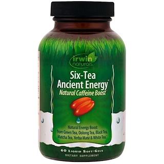 Irwin Naturals, Six-Tea Ancient Energy, Natural Caffeine Boost, 60 Liquid Soft-Gels