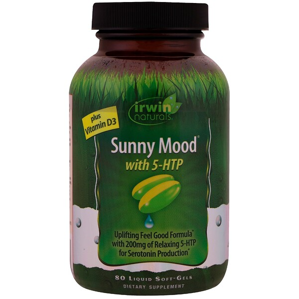 Irwin Naturals, Sunny Mood with 5HTP, Plus Vitamin D3, 80 Liquid Soft-Gels