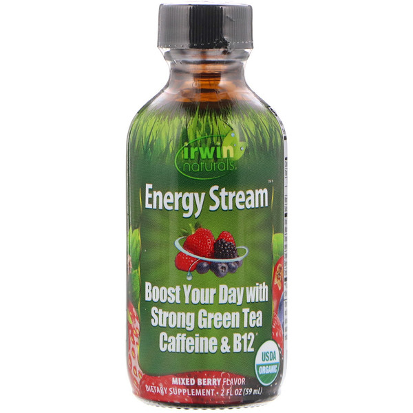 Irwin Naturals, Organic, Energy Stream, Mixed Berry Flavor, 2 fl oz (59 ml) (Discontinued Item)
