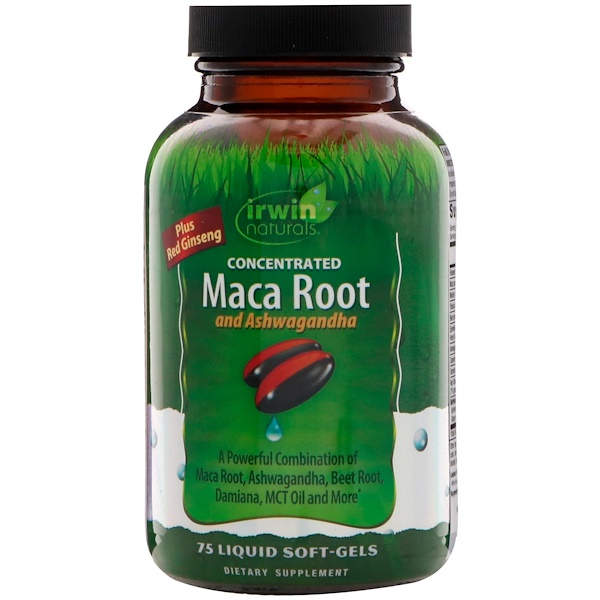 Irwin Naturals, Concentrated Maca Root and Ashwagandha, 75 Liquid Soft-Gels