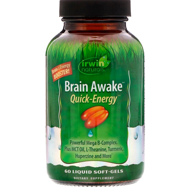 Irwin Naturals, Brain Awake Quick-Energy, 60 Liquid Soft-Gels (Discontinued Item)