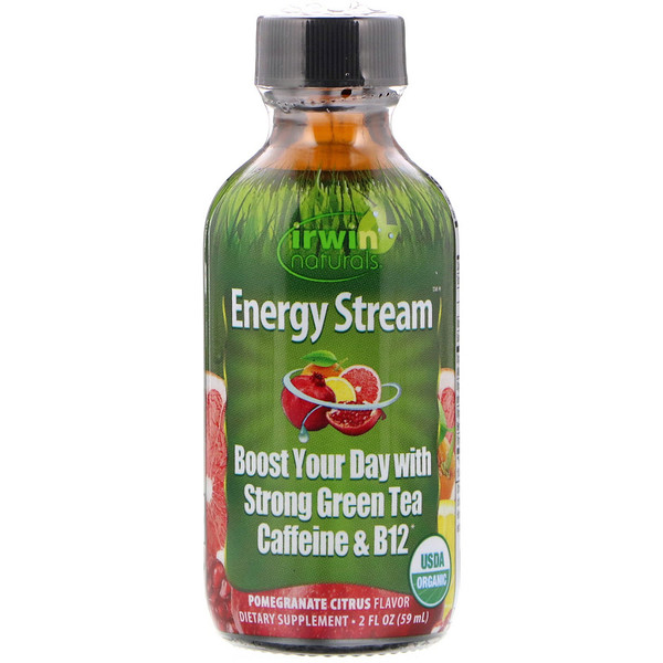 Irwin Naturals, Organic, Energy Stream, Pomegranate Citrus Flavor, 2 fl oz (59 ml) (Discontinued Item)