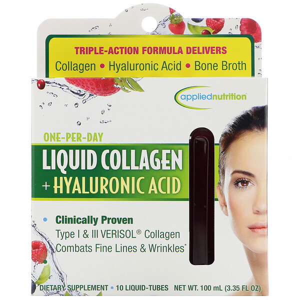 appliednutrition, Liquid Collagen +  Hyaluronic Acid, 10 Liquid-Tubes, 10 ml Each