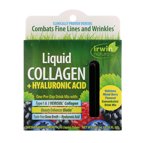 Irwin Naturals, Liquid Collagen + Hyaluronic Acid, Mixed Berry, 10 Liquid-Tubes, 10 ml Each