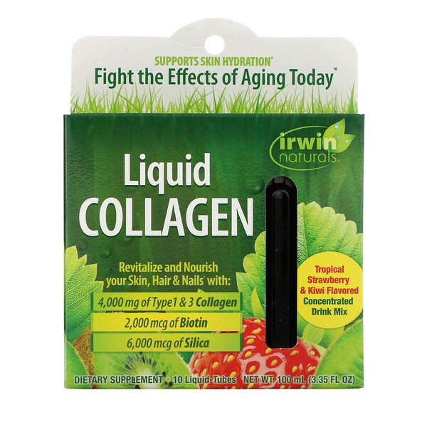 Irwin Naturals, Liquid Collagen, Tropical Strawberry & Kiwi, 10 Liquid-Tubes, 10 ml Each
