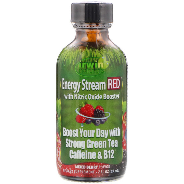Irwin Naturals, Energy Stream RED with Nitric Oxide Booster, Mixed Berry Flavor, 2 fl oz (59 ml) (Discontinued Item)
