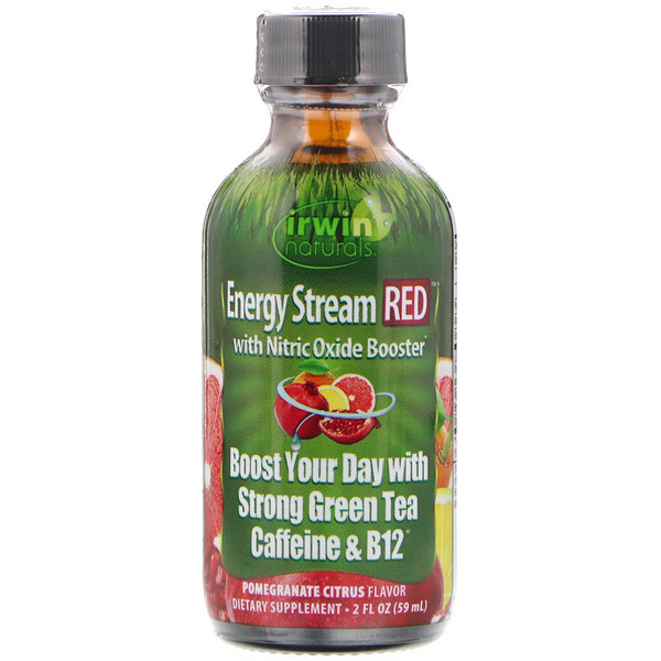 Irwin Naturals, Energy Stream RED with Nitric Oxide Booster, Pomegranate Citrus Flavor, 2 fl oz (59 ml) (Discontinued Item)