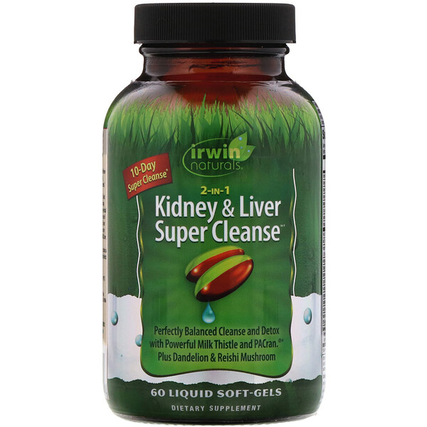 Irwin Naturals, 2 in 1 Kidney & Liver Super Cleanse, 60 Liquid Soft-Gels