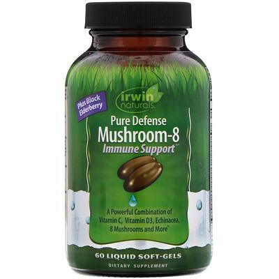 Купить Irwin Naturals Immune Support, смесь из 8грибов для защиты иммунной системы, 60желатиновых капсул